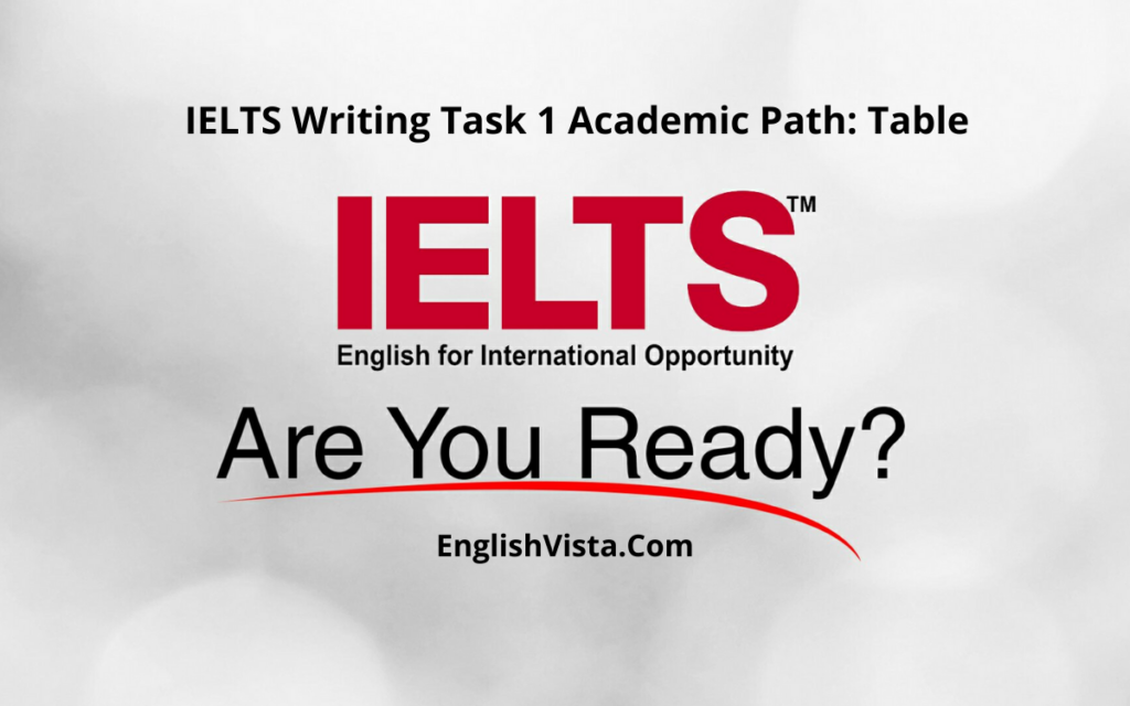 IELTS Writing Task 1 Academic Path: Table